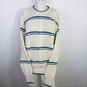Vintage Claybrook Knit Sweater With Blue Stripes